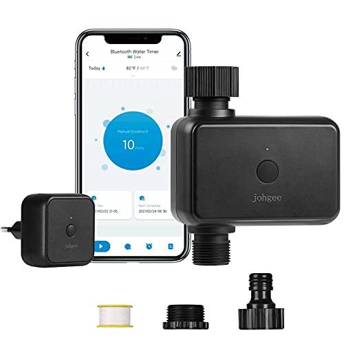 Johgee Ordenador de riego WiFi, reloj de riego inteligente con hub WiFi, Bluetooth y control de aplicación, temporizador automático y manual de agua para jardín, césped con retardo de lluvia.