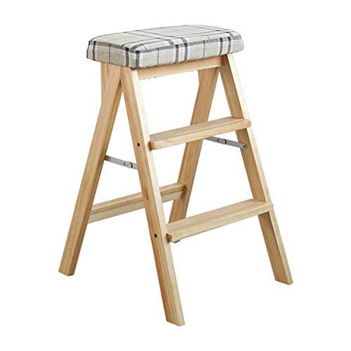 LZQBD Stegpallar, stege pall lager stark vikbar säkerhet halkfri fotdyna dubbel användning stege stol andra beställningen, massivt trä, C, 42 x 48 x 63 cm
