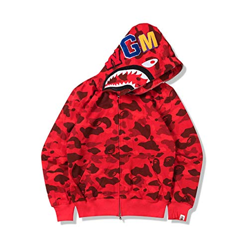 Bape Kapuzen-Sweatshirt, Herren und Damen Universal Hoodie Pullover, Jugendliche Erwachsene Pullover Full Zip Jacke Small rot