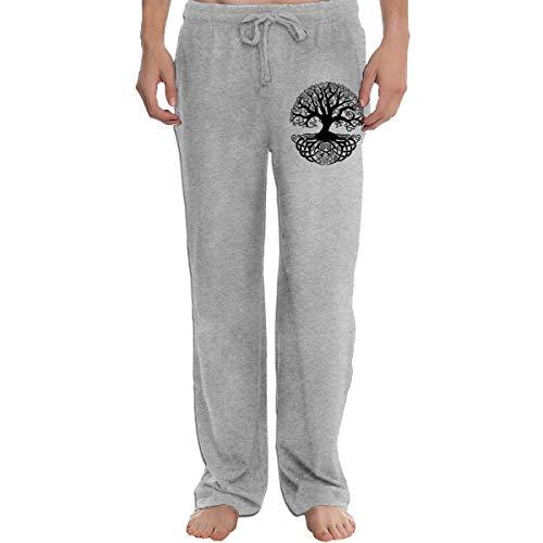 Vhlk07@P Men's Celtic Tree Knots Jogger Sweatpants, Casual Jersey Pant with Pockets Gray