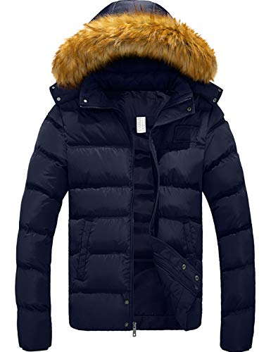 YXP Szory Men's Winter Thicken Cotton Coat Warm Puffer Jacket with Removable Fur Hood (Navy,Medium)