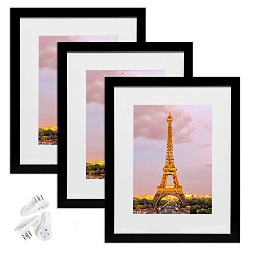 upsimples 12x16 Picture Frame Set of 3,Made of High Definition Glass for 8.5x11 with Mat or 12x16 Without Mat,Wall Mounting Photo Frame Black