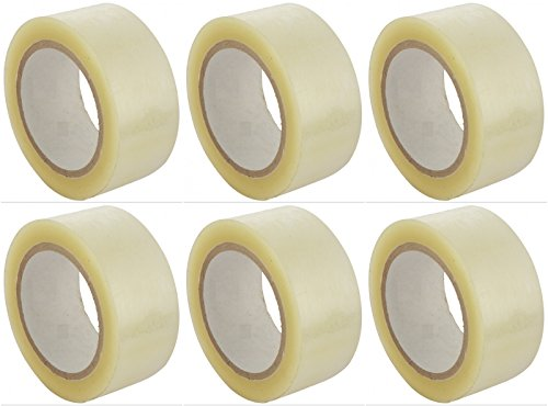 V4L Transparent Adhesive BOPP Tape 2'' inch Width x 65 Meter Length Roll - Packing Tape ( Combo of 6 Rolls )