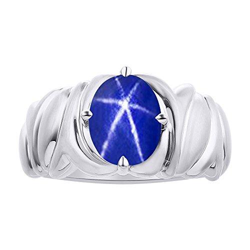 Solitaire - Anillo de plata de ley con diseño de estrella de zafiro azul – Anillo de piedra de nacimiento de color