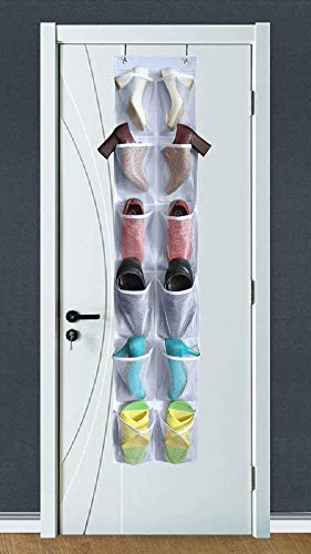 MISSLO Heavy Duty Over Door Shoe Organiser for Narrow Door with 12 Mesh Pockets (White) 1