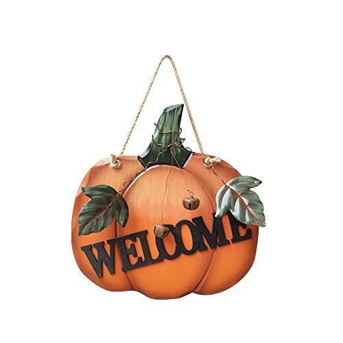 VSTAR66 - Cartel decorativo de madera con diseño de calabaza para el hogar, decoración de pared con hojas de metal y campana, para colgar en la pared de Halloween, para colgar en el porche