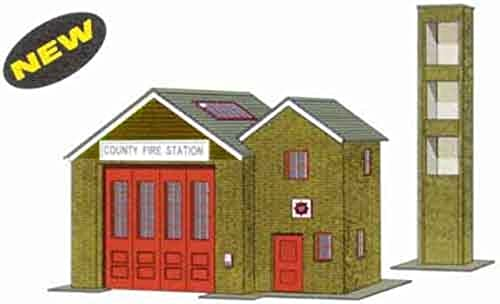 B36 Superquick Country Fire Station - 1 72 OO HO - Card Model Kit by Superquick