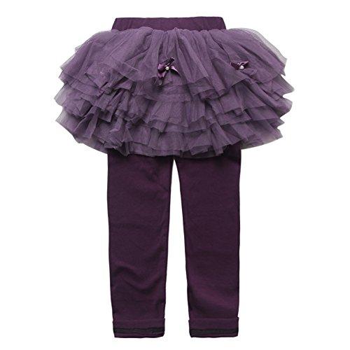 Girls' Fake Two-Piece Lace Tutu Skirts Culottes Leggings Pants Black Size 3