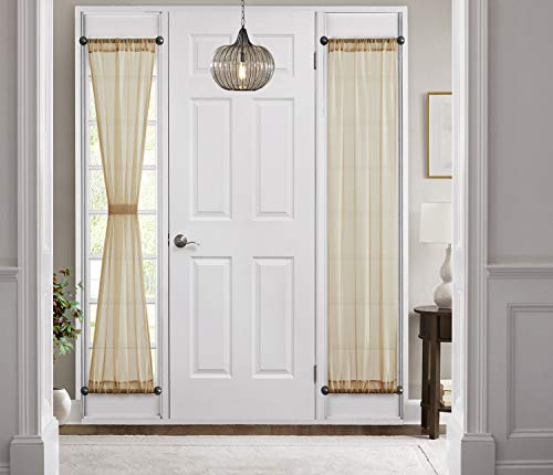 HLC.ME Sheer Voile French Door Patio Sidelight Window Treatment Curtain Panels with Tieback for Kitchen - 2 Panels (Antique Taupe, 30 W x 72 L)