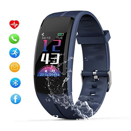 Zeerkeer IP68 Waterdichte Fitness Tracker, Bluetooth Smart Armband Horloge Hartslagmeter Stappenteller voor Mannen Vrouwen Kinderen voor Android iOS