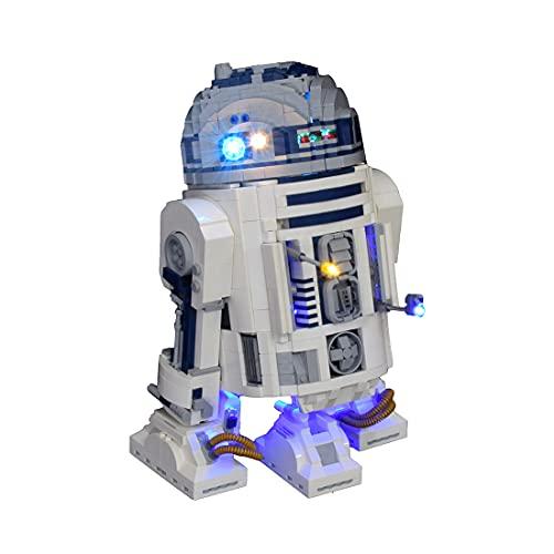 Morton3654Mam Juego de luces LED para la construcción de robot Lego R2-D2 75308, juego de iluminación compatible con bloques de construcción Lego 75308, sin juego de mando a distancia