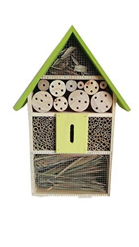 Eifa XXL 50 cm Insektenhotel Natur GRÜNES Dach/Nistkasten Insektenhaus aus Holz für Bienen, Schmetterlinge, Käfer & andere Tiere