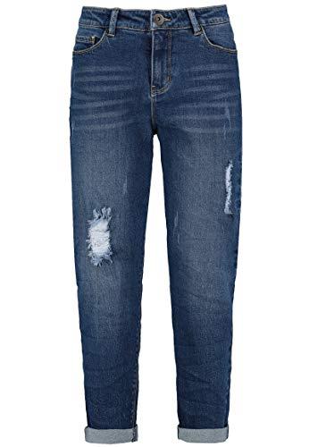 Sublevel Damen Boyfriend Jeans-Hose mit Destroyed Parts Dark-Blue L