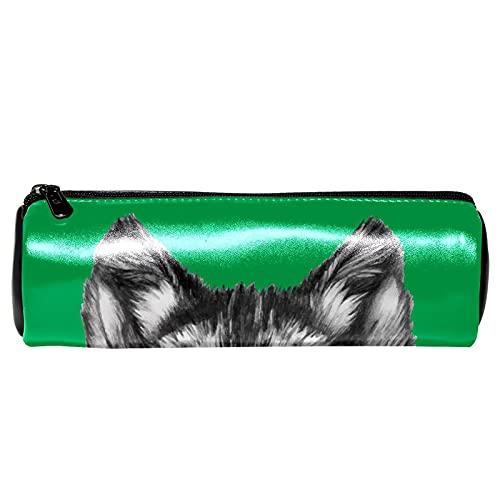 Cool Wolf Head con gafas de sol patrón verde estuche de papelería bolsa de almacenamiento organizador bolsa de cosméticos para la escuela, adolescentes, niñas, niños, hombres y mujeres