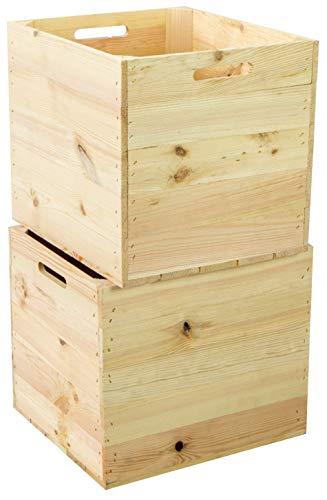 Kistenkolli Altes Land - Juego de 2 cajas de madera compatibles con todas las estanterías de Kallax y Expidit, cajas de vino, cajas de frutas, dimensiones 33 x 37,5 x 32,5 cm, naturaleza