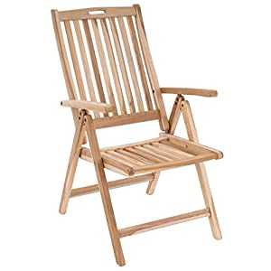 Divero GL05004 Stuhl Gartenstuhl Terrassenstuhl Klappstuhl aus Teak-Holz Hochlehner mit Armlehnen verstellbare…