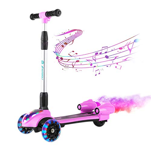 SKATEBOLT Kick Scooter for Kids, 3-Wheel Spray Rocket Scooter, Adjustable Height, Foldable Design Micro Scooter with Dynamic Spray Effect and Music for Boys & Girls