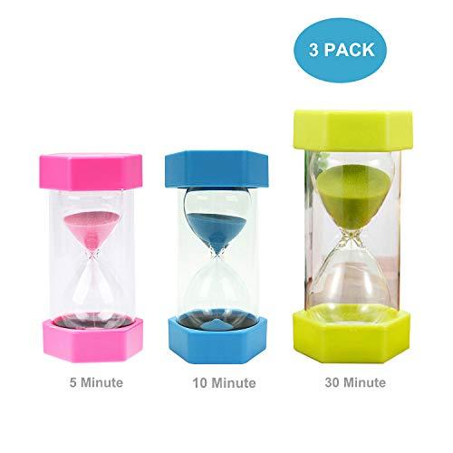 Besttimes 3 Paquetes Temporizador de Arena de Vidrio para Reloj de Arena de 5/10/30 Minutos para niños Cocina