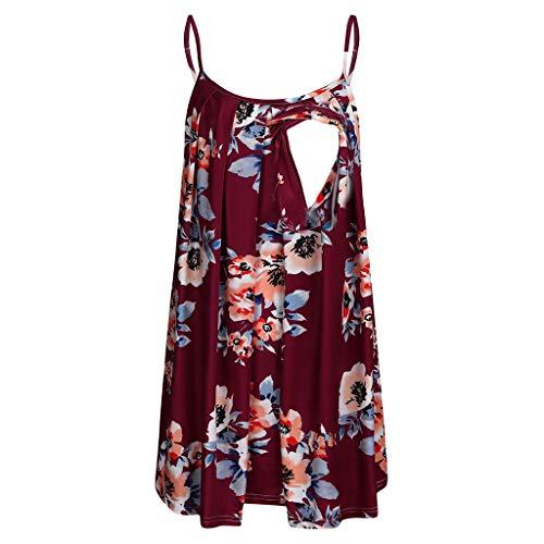 NPSJYQ Top Plisado de enfermería con Chaleco Estampado para Mujer Modelos Populares de Lino Damas Estampado Floral Retro EnfermeríA Lactancia Top Camiseta Blusa (Vino Tinto, XXXL)