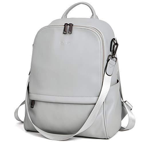 BROMEN Backpack Purse for Women Leather Anti-theft Travel Backpack Fashion College Shoulder Handbag Grey