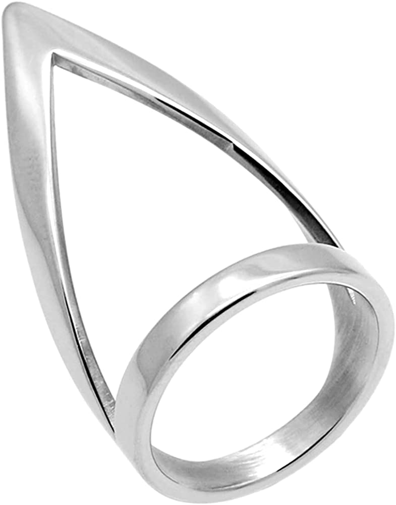 Stainless Steel Long Chunky Arrow Chevron Wrap Style Wedding Promise Statement Ring