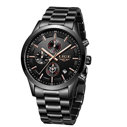 LIGE Herren Uhren Wasserdicht Schwarz Edelstahl Armbanduhr Männer Chronograph Kalender Militär Sport Analog Quarz Uhr