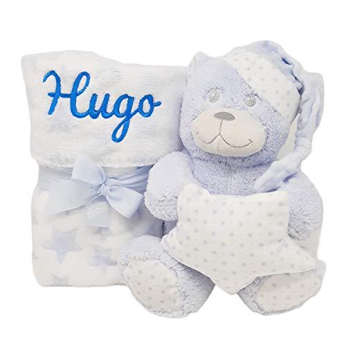 Mababyshop- Set Manta y Peluche Personalizado Osito, para regalo de recién nacido | Detalles de Nacimiento Personalizados (Azul)