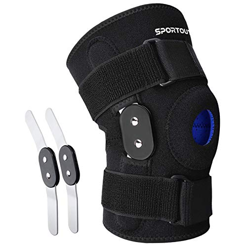 Sportout Kniebandage, mit abnehmbare Aluminiumscharniere Kniestütze, Knieschoner, perfekt für Meniskusriss,Zerrungen, Kniebeschwerden, Arthritis, für Damen