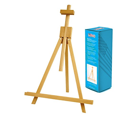 US Art Supply Topanga 18 to 31-1/2 inch High Adjustable Medium Portable Wood Travel Tabletop A-Frame Easel