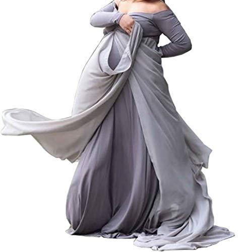 Arbres Umstandskleid Chiffon Train Kleid Schwangerschaftskleider Maternity Gown Fotografie Stützen Kleid,Grau, M