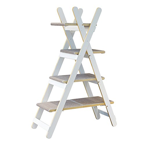 zoovilla Modern Folding Cat Tree Cat Furniture, Cat Toy, Cat Tower, White