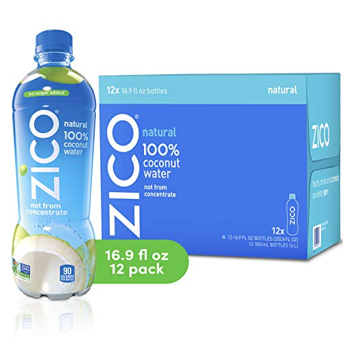 Zico Beverages Natural 100% Coconut Water Drink, No Sugar Added Gluten Free, 202.8 Fl Oz(Pack of 12)