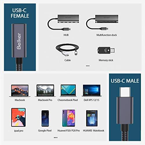 Belkertech USB C Verlängerungskabel Typ C [0.5M / 1.65Ft] USB 3.1 [10Gbps] Verlängerungskabel Typ C zum Laden und Synchronisieren für MacBook Pro 2016/2017 / Dell XPS