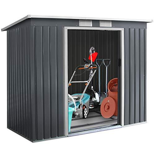 DREAMADE Gartenhaus Metall mit Fundament, Gerätehaus Gartenhäuse Geräteschuppen für Garten Outdoor, 213x130x173 cm/dunkelgrau/Wetterbeständig