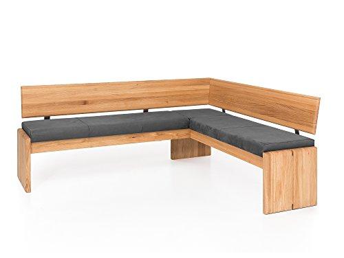 moebel-eins Scott Eckbank mit Truhe, Material Massivholz/Bezug Kunstleder, Eiche, 192 x 167 cm, grau