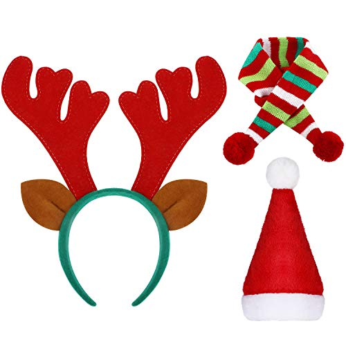WILLBOND Christmas Reindeer Antlers Headband Santa Hat and Striped Holiday Scarf Pet Accessory for Dog Puppy Cat