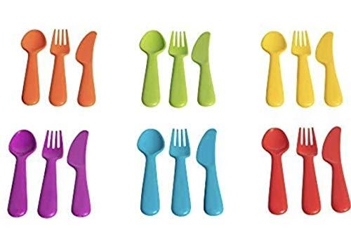 Klickpick Home Plastic Toddler Utensils 18 Pcs Set 6 Kids Forks and 6 Kids Spoons 6 Kids Knives - BPA Free/Dishwasher Safe Toddler Silverware Brightly Colored Kid Plastic Cutlery Set, Great for Kids