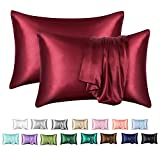 MR&HM Satin Pillowcase for Hair and Skin, Silk Satin Pillowcase 2 Pack, King Size Pillow Cases Set of 2, Silky Pillow Cover with Envelope Closure (20x40, Burgundy)