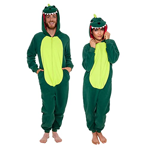 Silver Lilly Slim Fit Animal Pajamas - Adult One Piece Cosplay Dinosaur Costume (Green, Large)