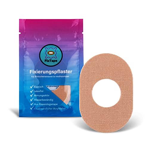 FixTape atmungsaktives Sensor-Tape für Freestyle Libre 1 & 2 I selbstklebendes Patch mit Loch für Glukose-Sensor I besonders hautfreundlich und wasserfest in modernen Designs I 7 Stück (Beige)