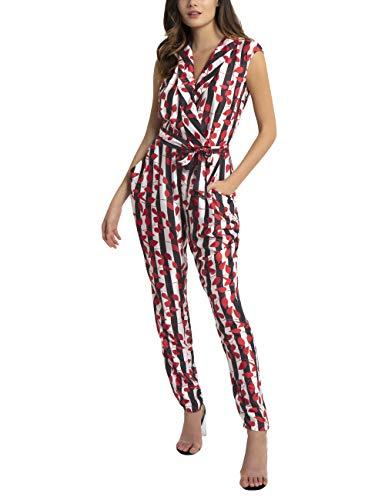 APART Damen Overall mit Streifen und Blätter-Print, schwarz-rot-Creme, 38