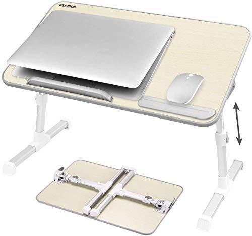 NearPow Mesa de Cama para Portátil Ajustable Plegable Sofá Mesa de Desayuno Mesa Plegable Ordenador Mesa Plegable Lectura para Niños (Crema-Tamaño Grande)