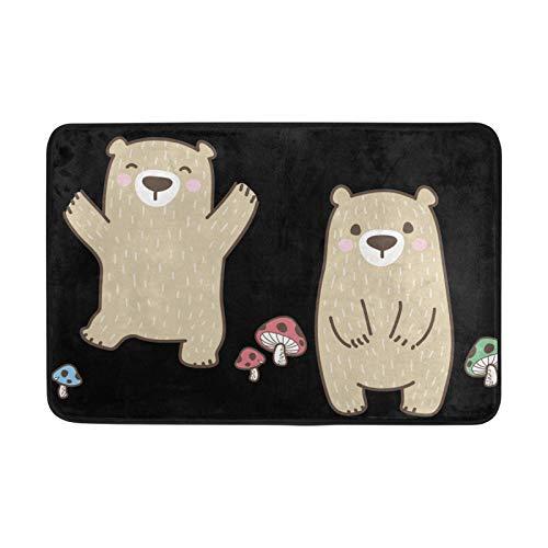 JinDoDo - Felpudo con diseño de oso pequeño y antideslizante, lavable, para interiores, 60 x 40 cm