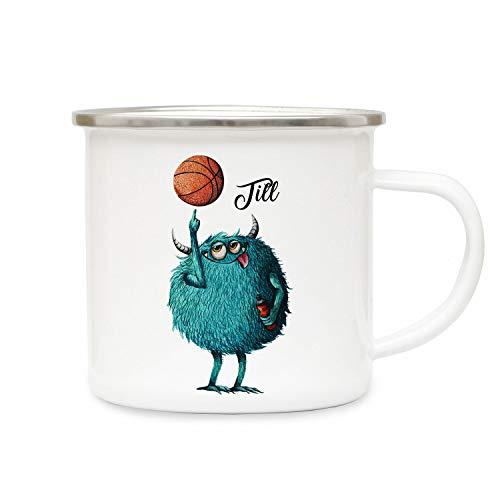 ilka parey wandtattoo-welt Emaillebecher Becher Tasse Camping Monster Basketball & Wunschname Name Kaffeetasse Geschenk eb392 - ausgewählte Farbe: *bunt* ausgewählte Größe: *3. Monster Basketball*
