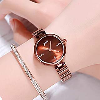 MeterMall Gifts for Girls,Women GEDI Waterproof Quartz Watch with Hardened Glass for Leisure Business Office dark brown