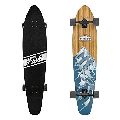FISH SKATEBOARDS Longboard Skateboard, 44-Inch 7-Ply Artisan Bamboo and Maple Longboard,...