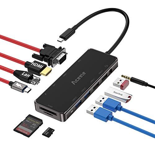 Aceele Hub USB C, 11 en 1 Adaptador USB C a HDMI, VGA, RJ45 Ethernet, USB C Power, 2 USB 3.0 & 2 USB 2.0, Audio, Lector de Tarjetas SD & Micro SD, para Macbook Pro / Air, iPad Pro, Galaxy S10, etc.