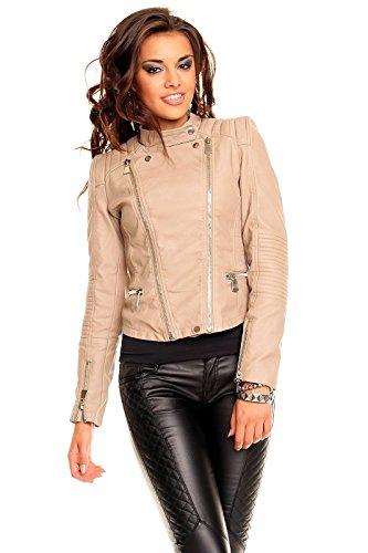 Voyelles Damen Jacke Blogger Quilted Trend Biker Lederjacke Kunst Leder S M L XL 090 (XL, Beige)