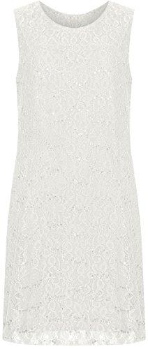 WearAll Womens Plus Size Bloemen Lace Pailletten Dames Mouwloos Feestjurk - Maten 12-26
