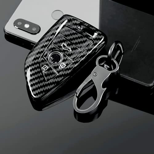KSKKD Fibra de Carbono ABS Auto Key Cover Case Shell Holder Set Bolsa, para BMW 1 3 5 7Series F10 F20 F30 335328535650 525li X3 X4